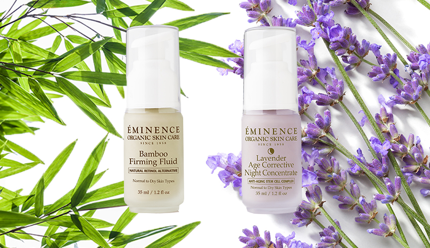 Eminence Organics Bamboo Firming Fluid and Lavender Age Corrective Night Concentrate