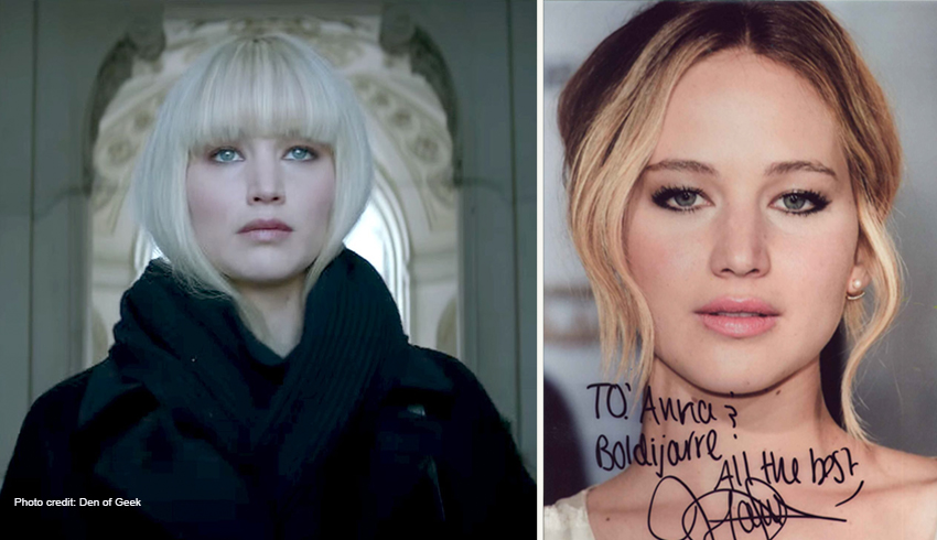 2 photos of Jennifer Lawrence in her movie,