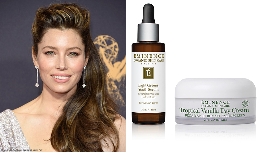 Jessica Biel with Eminence Organics Eight Greens Youth Serum and Tropical Vanilla Day Cream