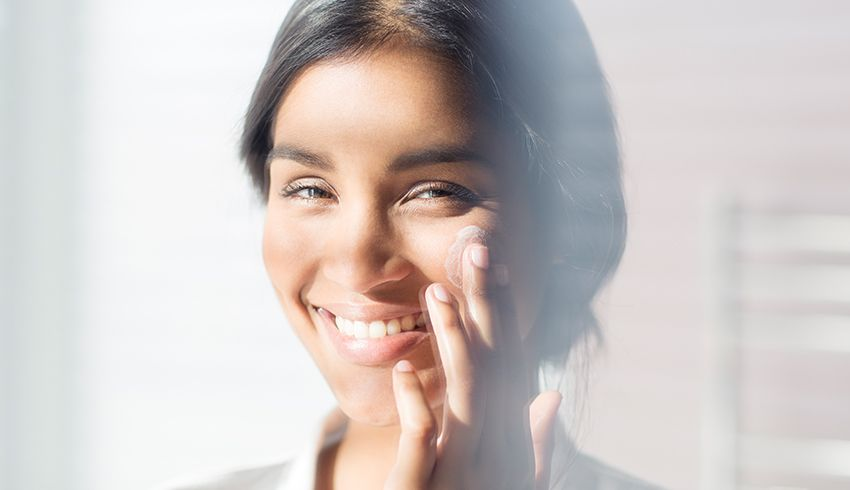 Smiling woman with normal skin