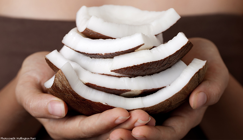 Slices of raw coconut in its shell