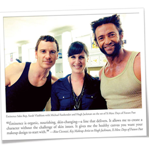 Michael Fassbender and Hugh Jackman on set with Eminence Organics