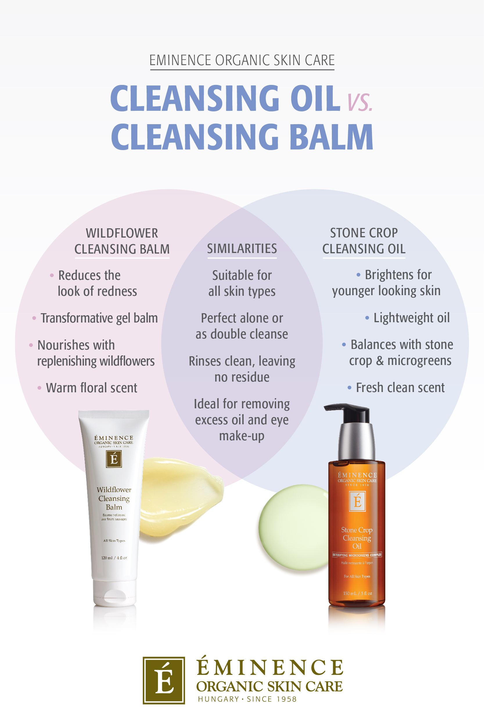 Eminence Organics Wildflower Cleansing Balm versus Stone Crop Cleansing OIl