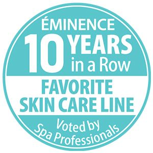 Awards badge for Eminence Organics winning Favorite Skin Care Line 10 years in a row