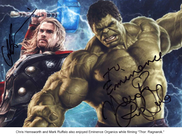 Signed photo to Eminence Organics from Chris Hemsworth and Mark Ruffalo in Thor: Ragnarok