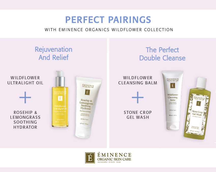 Two Eminence Organics product pairings featuring the Wildflower Collection