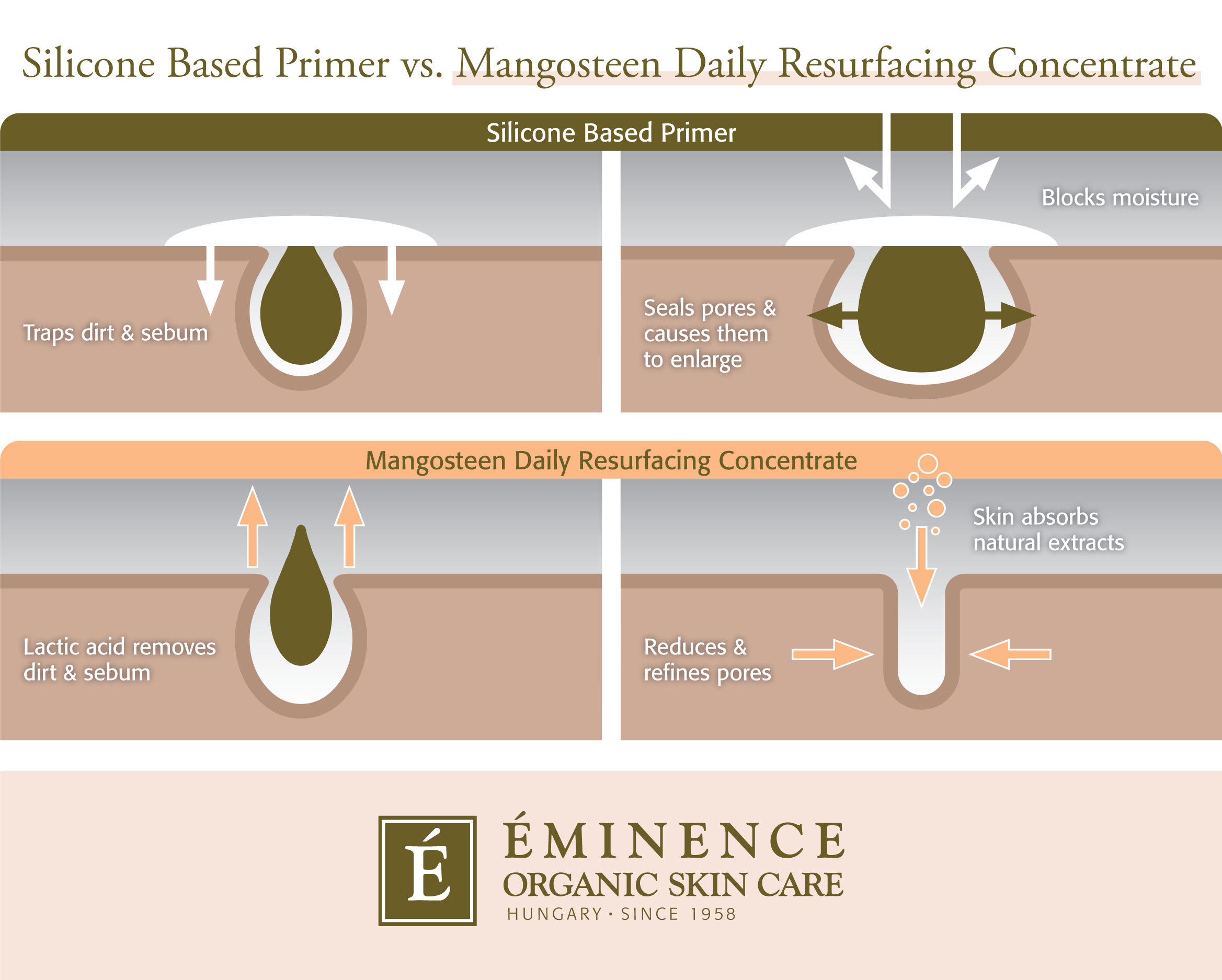 Infographic comparing silicone based primers with Eminence Organics Mangosteen Daily Resurfacing Concentrate
