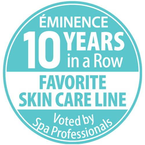 Eminence Organics 10 years in a row, favorite skin care line awards badge