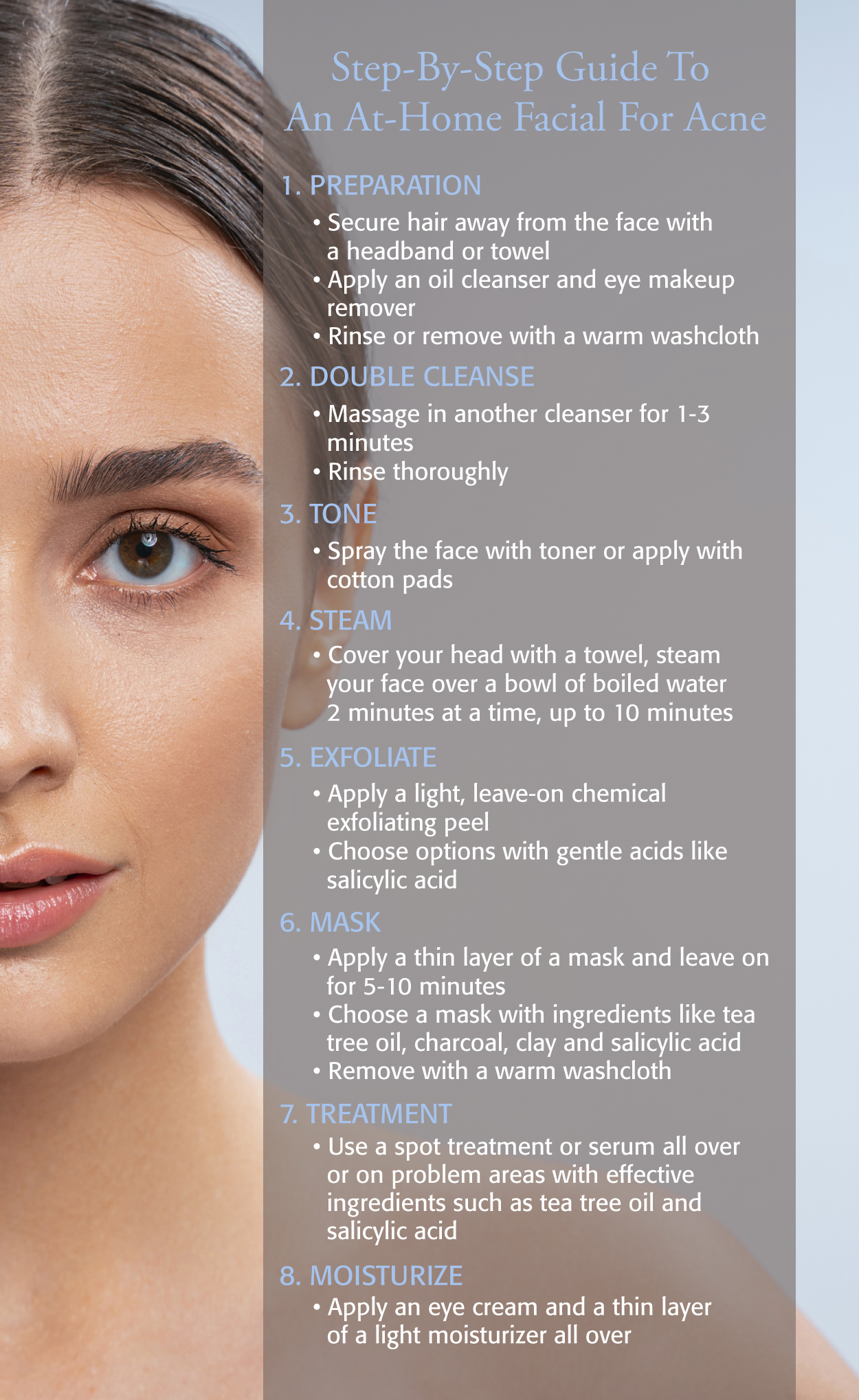 Eminence Organics Facial At Home For Acne Infographic