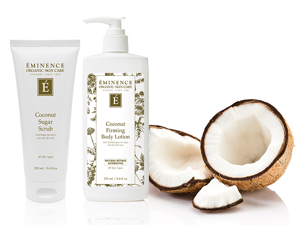 Eminence Organics coconut sugar scrub and coconut firming body lotion