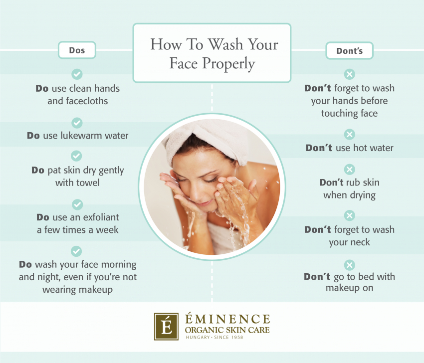 how to wash your face infographic
