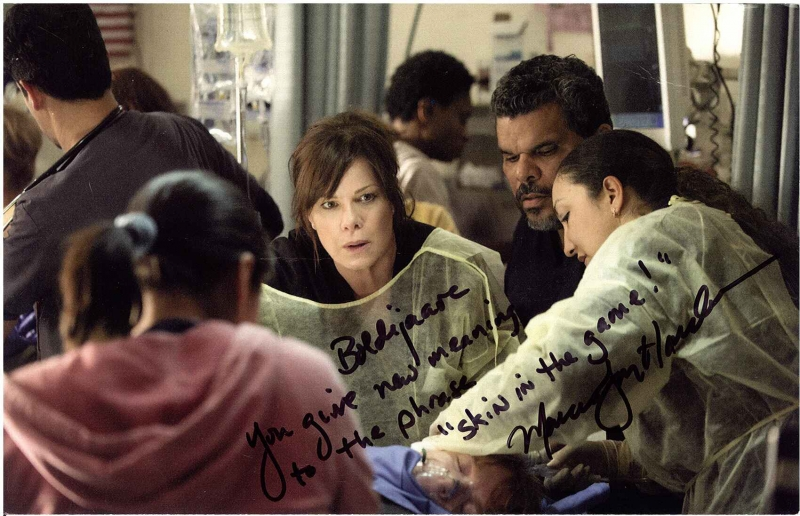 Signed photograph from Marcia Gay Harden to Eminence Organics