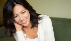 Mature asian woman smiling