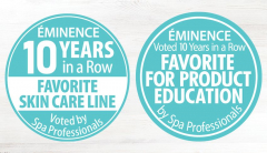 Award badges for Eminence Organics winning Favorite Skin Care and Favorite For Product Education in the 2019 American Spa Professional's Choice Awards