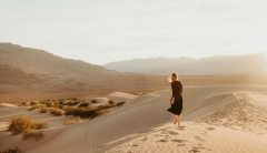 A woman in the desert