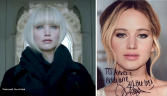 "2 photos of Jennifer Lawrence in her movie, ""Red Sparrow."""
