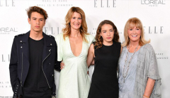Laura Dern and Diane Ladd pose on the red carpet with Dern's two children