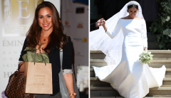 Meghan Markle with Eminence Organics bag and at her royal wedding