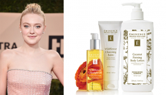 Dakota Fanning and Eminence Organics Wildflower Ultralight Oil, Wildflower Cleansing Balm and Coconut Firming Body Lotion